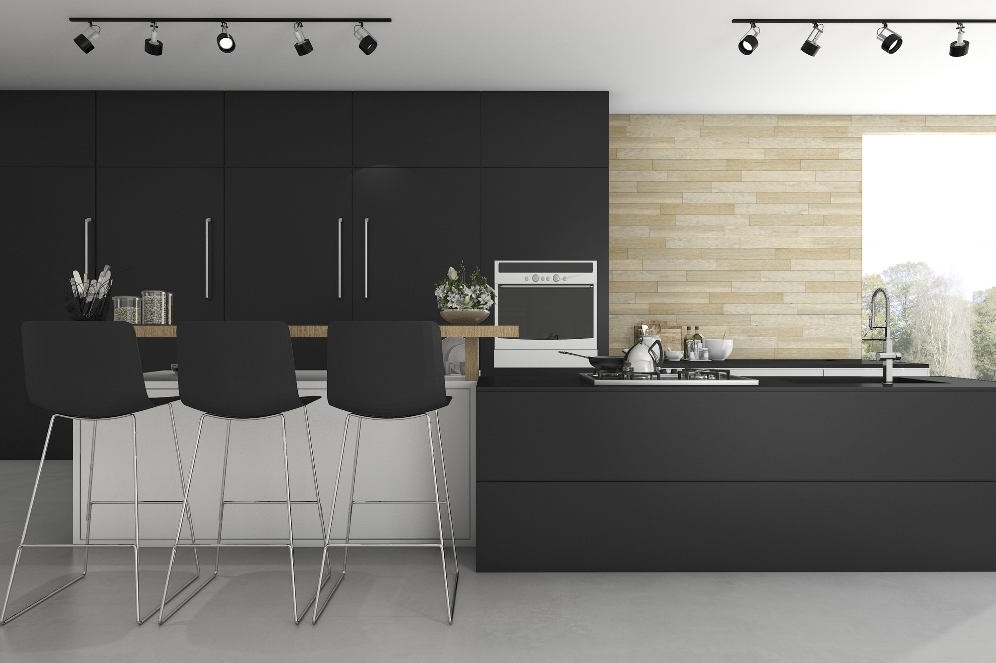 3d rendering black kitchen and minimal decoration